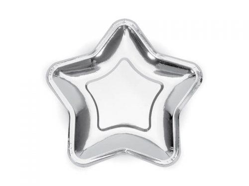 Platos Estrella color plata 23cm