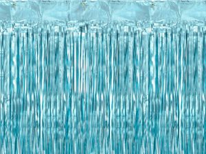 Cortina de flecos metalizada Azul