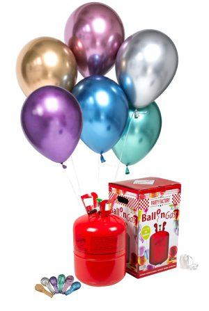 Pack helio grande + 50 globos látex Cromados