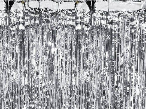 Cortina de flecos metalizada Plata