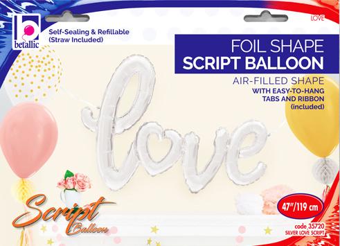 Globo letra Love Plata script