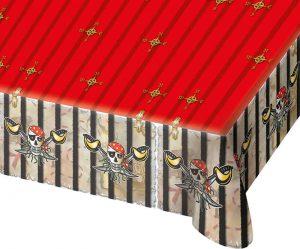 Mantel Fiesta Pirata de plástico ideal para cubrir la mesa de una manera original, no puede faltar en el cumpleaños o la fiesta temática de los mas valientes de la casa.