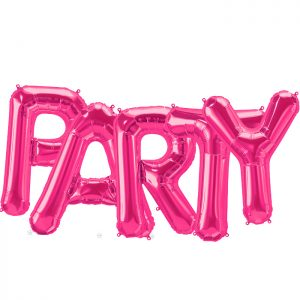 Pack letras PARTY fucsia 86 cms.