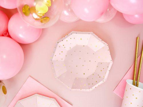 Platos color Rosa claro con estrellas Doradas 18cm