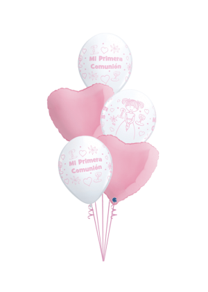 Bouquet de globos Comunión Niña corazones