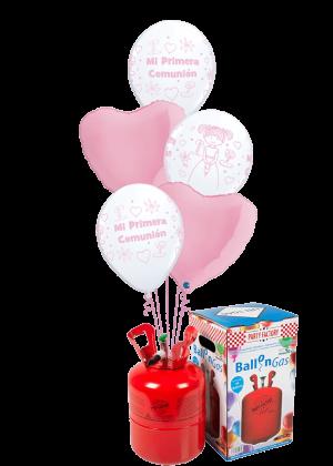 Helio + Bouquet de globos Comunión Niña corazones