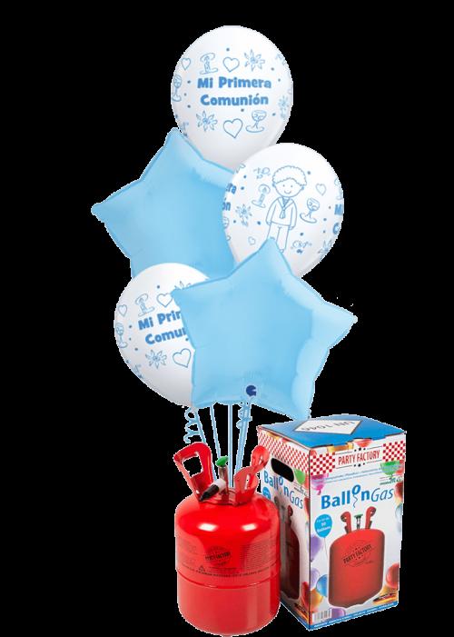 Helio + Bouquet de globos Comunión Niño estrellas