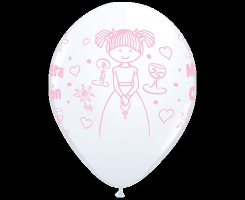 Globos de látex Comunión Blanco y rosa niña