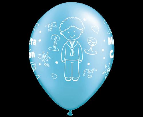 Globos de látex Comunión niño Azul medio perlado