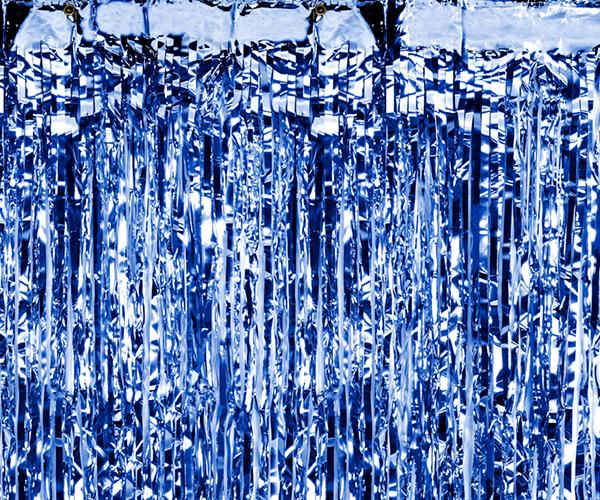 Cortina de flecos metalizada Azul oscuro