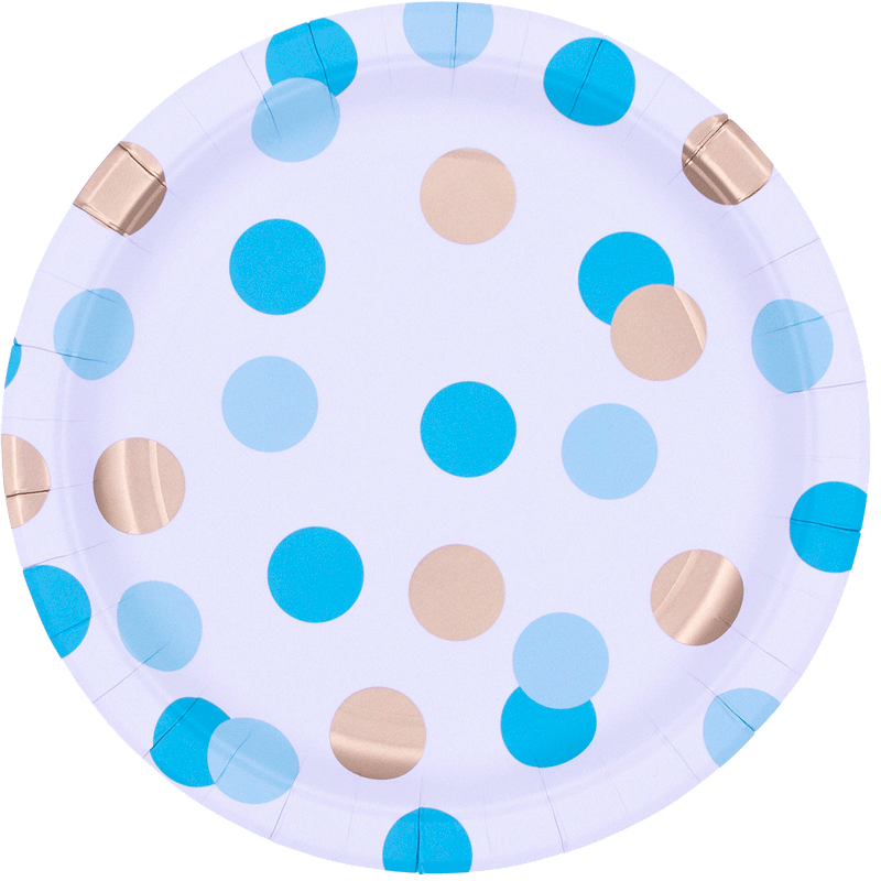Platos Blue & Gold Dots 23cm