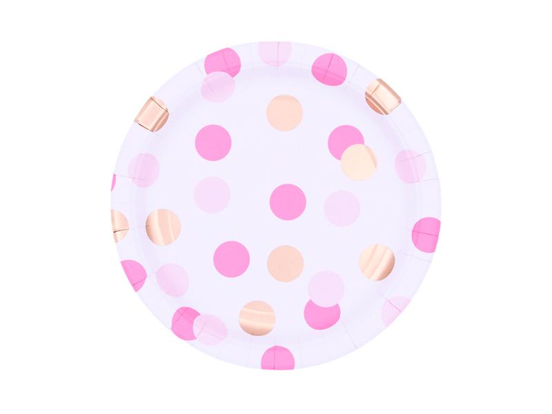 Platos lunares rosa y dorado 23cm