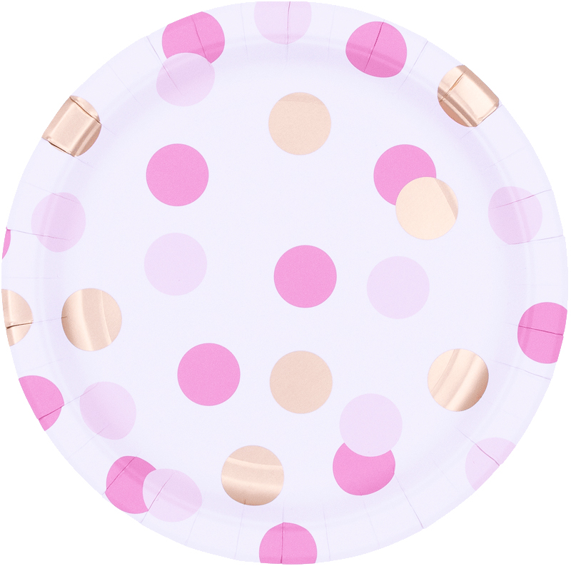 Platos Pink & Gold Dots 23cm