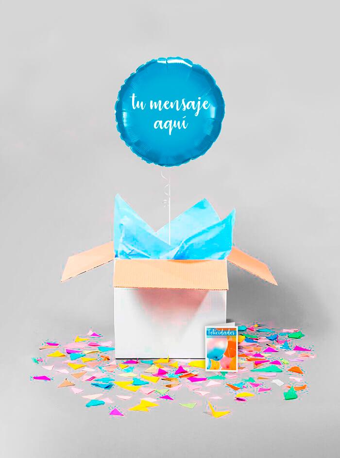 Caja sorpresa globo redondo azul