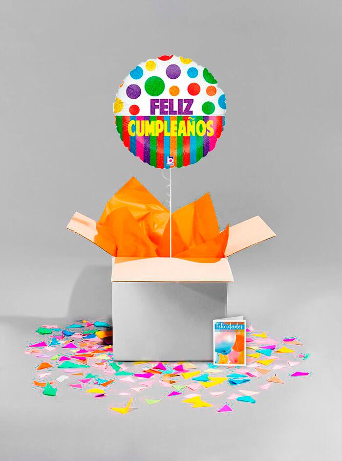 Caja sorpresa Feliz Cumpleaños dots y rayas