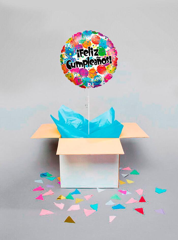 Caja sorpresa Feliz Cumpleaños globos