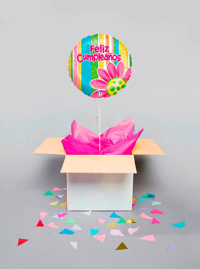 Caja sorpresa Feliz Cumpleaños flor