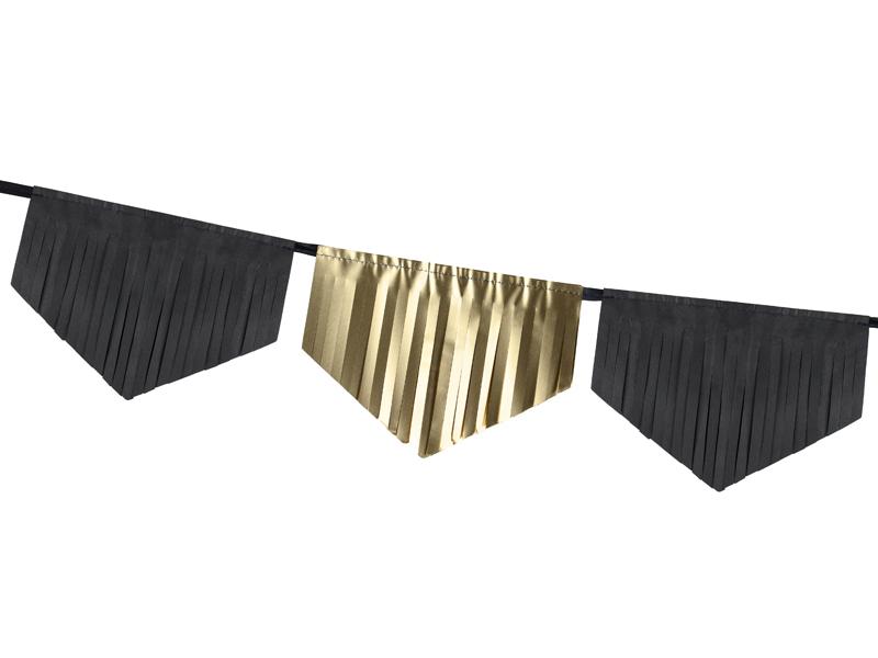 Guirnalda de flecos dorada y negra