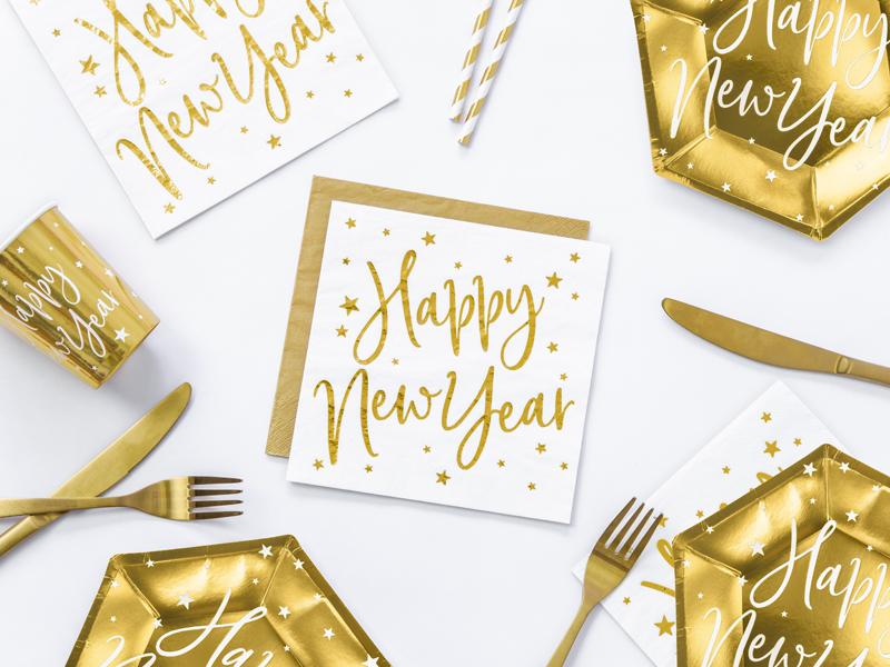 Servilletas blancas Happy New Year