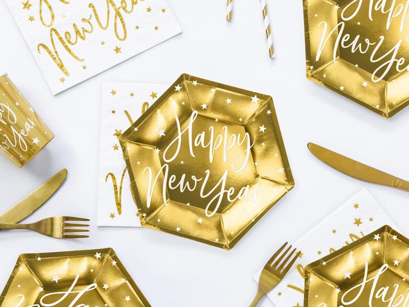 Platos dorados brillo Happy New Year 20 cm