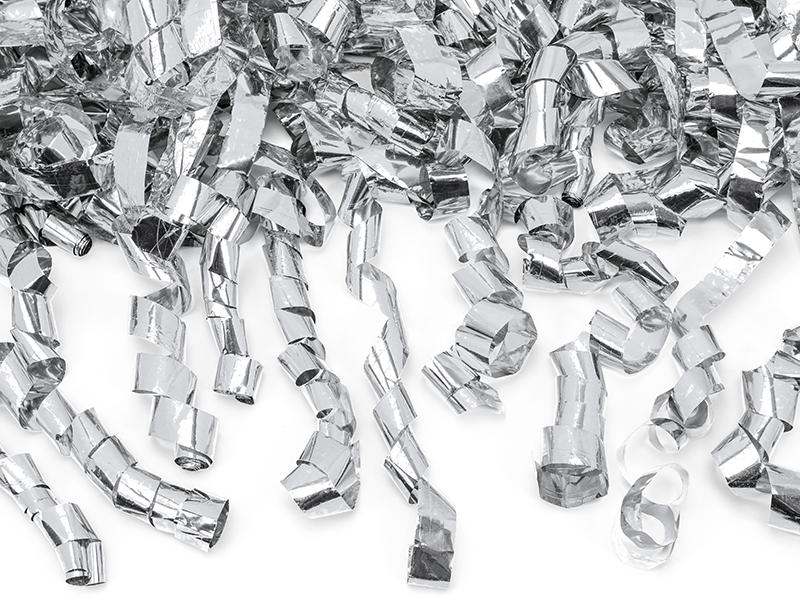 Cañon de Confeti color Plata serpentinas 40 cm