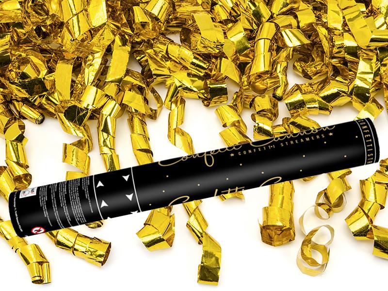 Cañon de Confeti color Dorado serpentinas 40 cm