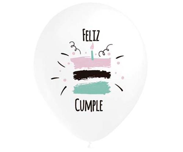 Globos de látex Feliz Cumpleaños tarta