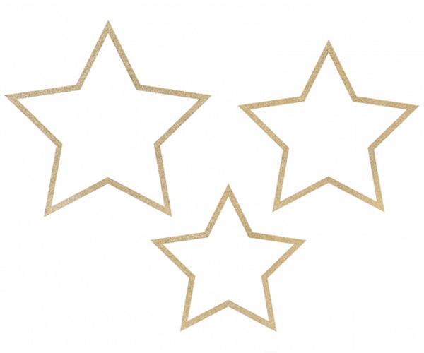 Estrellas colgantes con purpurina brillante
