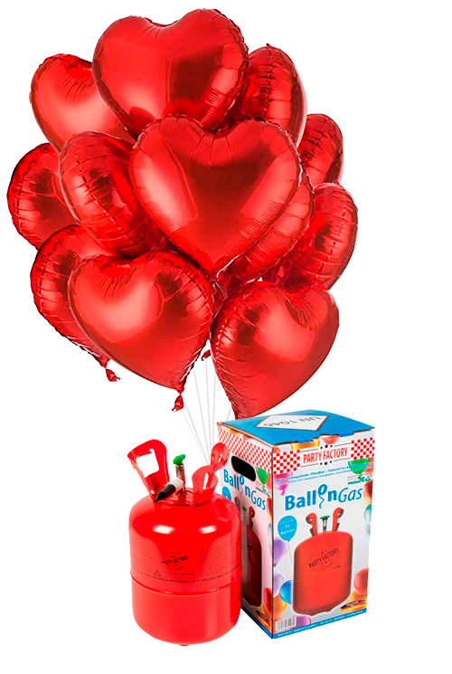 Helio 30 + Bouquet globos corazón rojos de foil