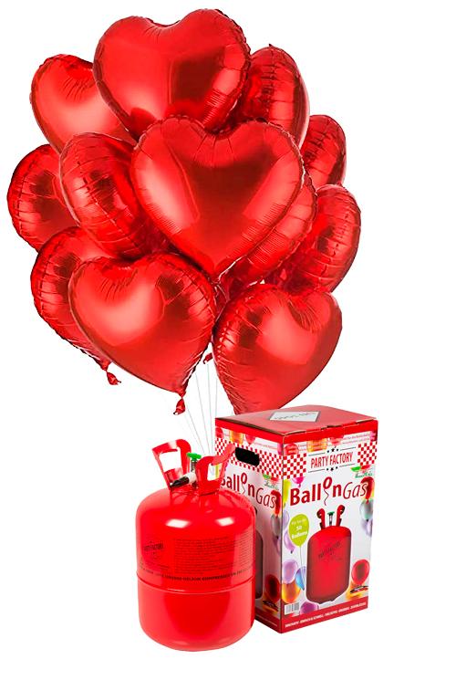 Helio 50 + Bouquet globos corazón rojos de foil