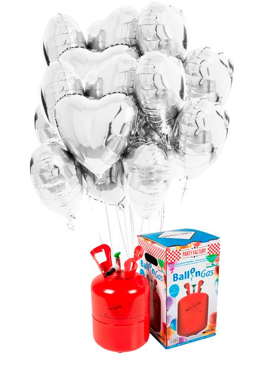 Helio 30 + Bouquet globos corazón plata de foil