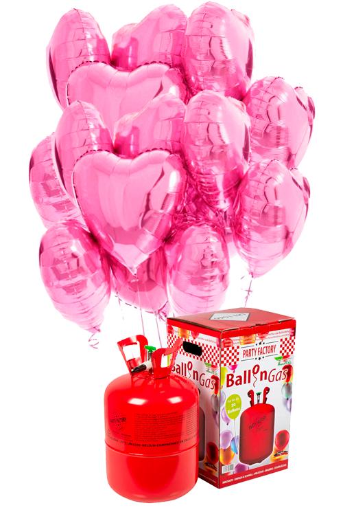 Helio 50 + Bouquet globos corazón rosa de foil