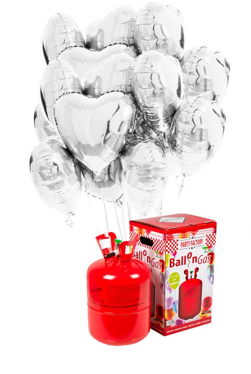Helio 50 + Bouquet globos corazón plata de foil