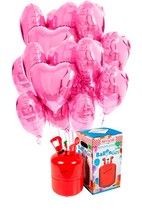 Helio 30 + Bouquet globos corazón rosa de foil