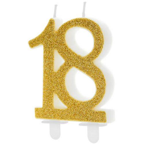 Velas cumpleaños 18 purpurina color Dorado