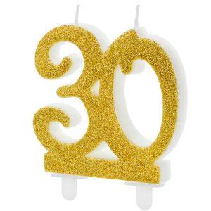 Velas cumpleaños 30 purpurina color Dorado
