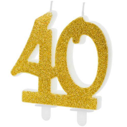 Velas cumpleaños 40 purpurina color Dorado