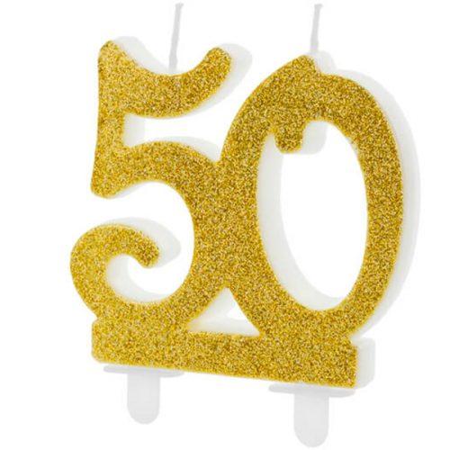 Velas cumpleaños 50 purpurina color Dorado