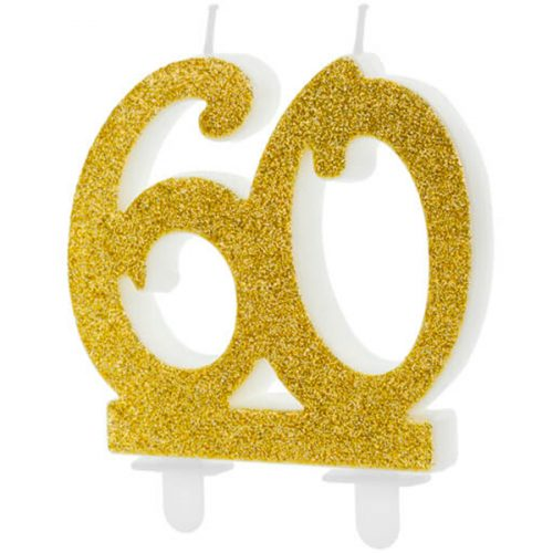 Velas cumpleaños 60 purpurina color Dorado