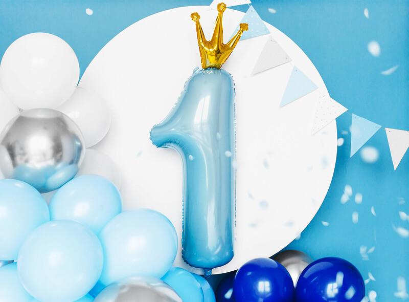 Globo número 1 azul con corona