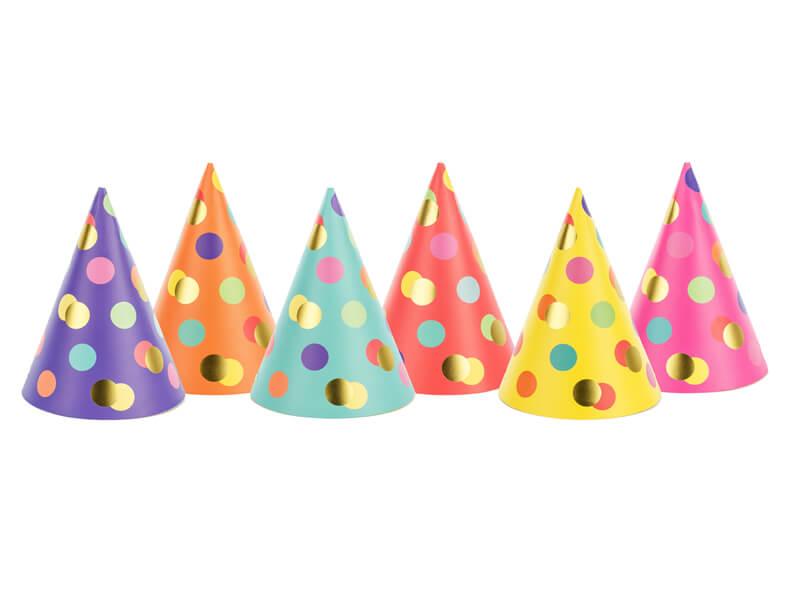 Sombreros de fiesta con lunares