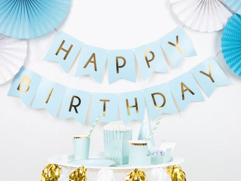 Banderín Happy Birthday Azul dorado