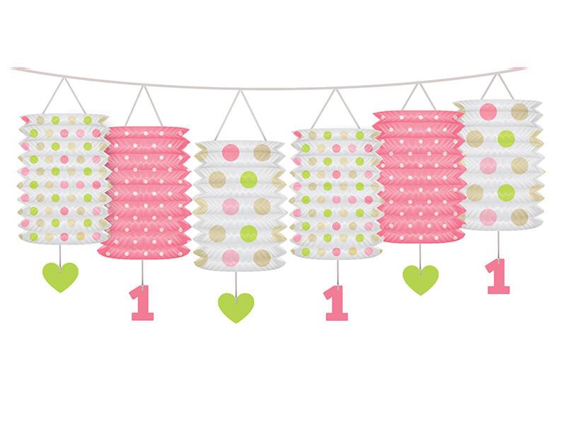 Guirnalda farolillos 1er cumpleaños rosa