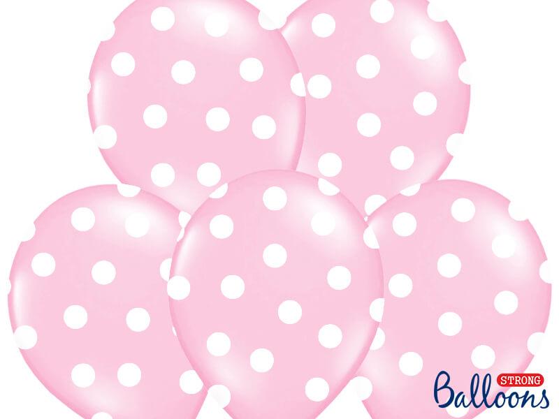 Globos de látex rosa con puntos blancos