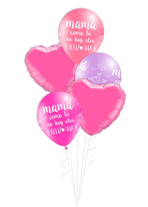 Bouquet de globos Mamá feliz día tonos rosa