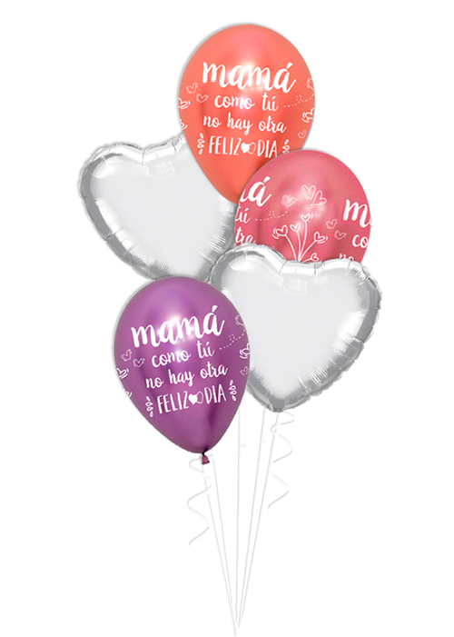 Bouquet de globos Mamá feliz día tonos brillante