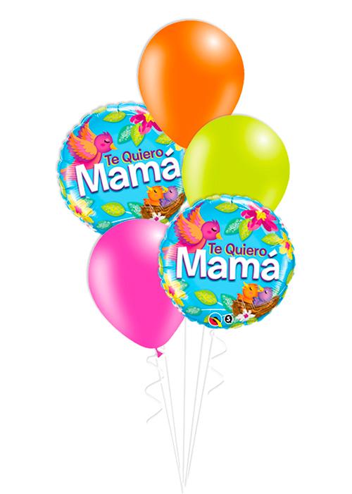 Bouquet de globos Te Quiero Mamá nido colores