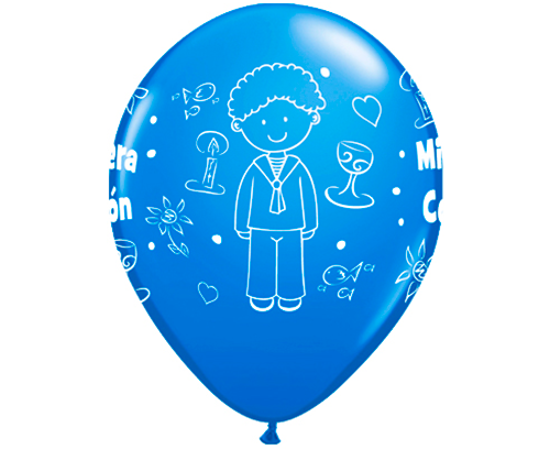 Globos de látex Comunión niño Azul
