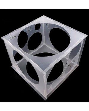 Caja cubo medidor plegable para globos. Práctico y profesional cubo medidor de globos. Prepara unas decoraciones perfectas calibrando todos tus globos de látex.