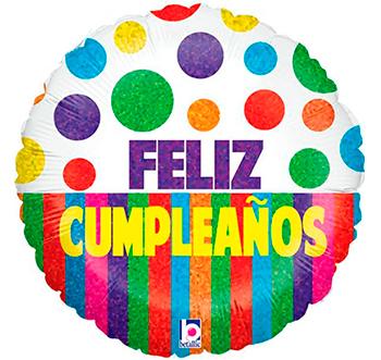 Globo metálico Feliz Cumpleaños bolas y franjas